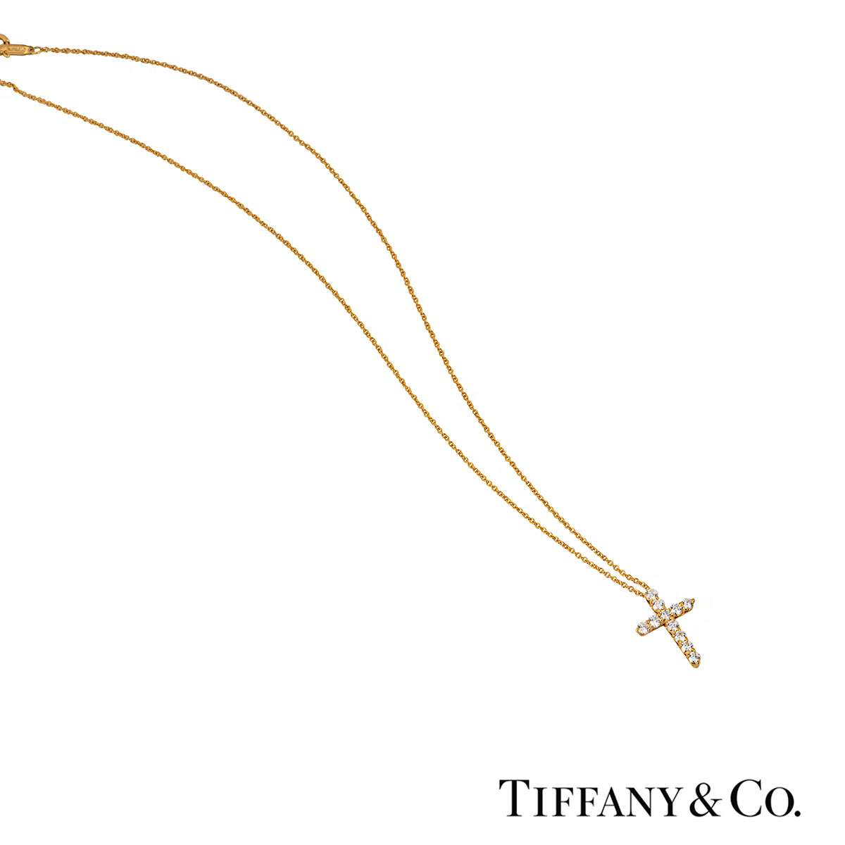 Tiffany & Co. Yellow Gold Diamond Cross Pendant